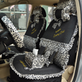 Leopard Lace Universal Auto Car Seat Cover Set 21pcs ice silk - Black