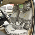 Leopard Lace Universal Auto Car Seat Cover Set 21pcs ice silk - Gray