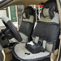 Round dot Lace Universal Auto Car Seat Cover Set 21pcs ice silk - Black
